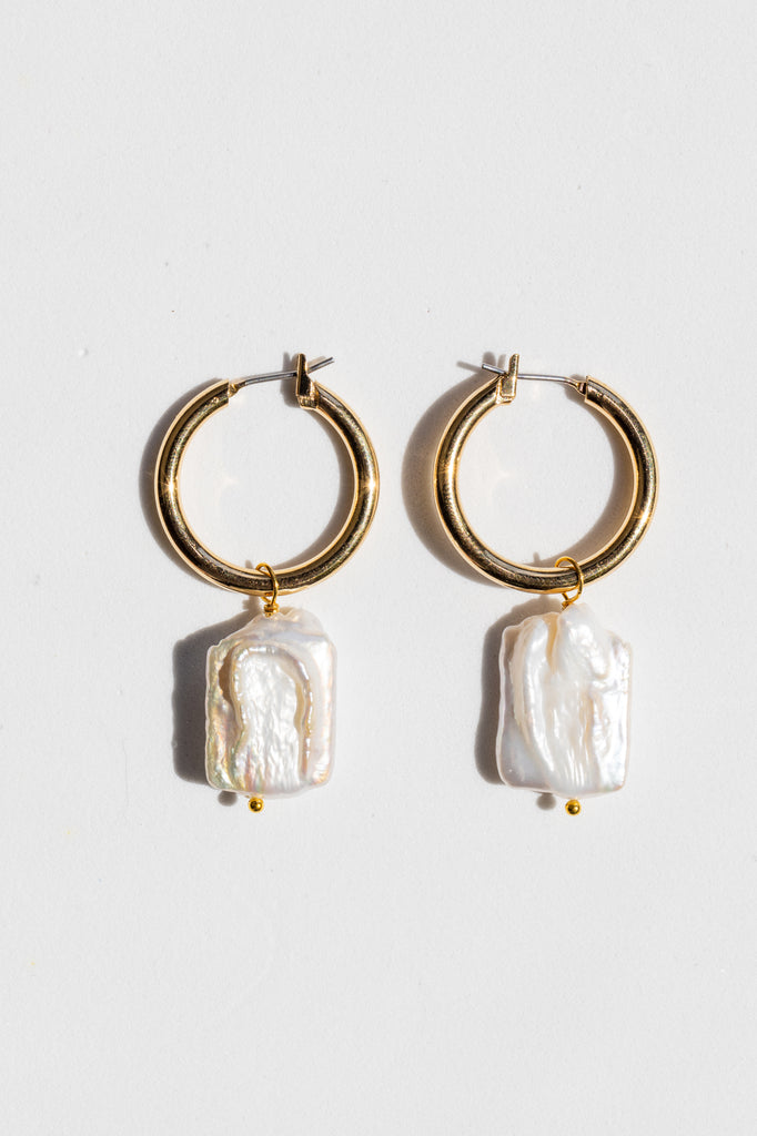 Square Pearl Hoop Earrings - shoparo
