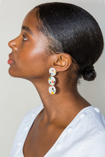 Triple Disc Terrazzo Earrings