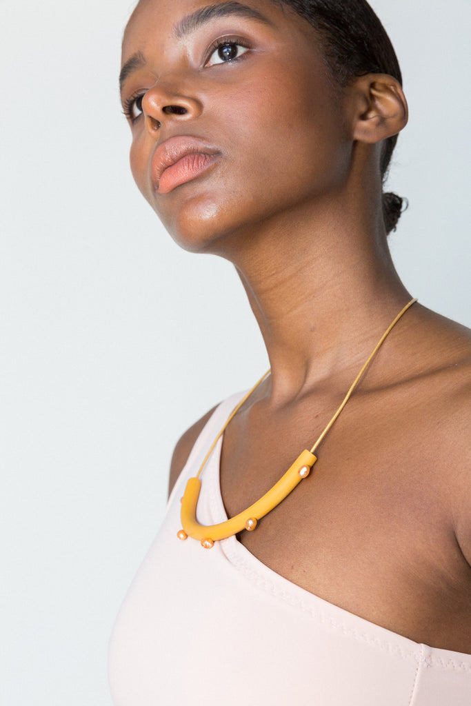 Five Pearl Cylinder Necklace - Yellow - shoparo