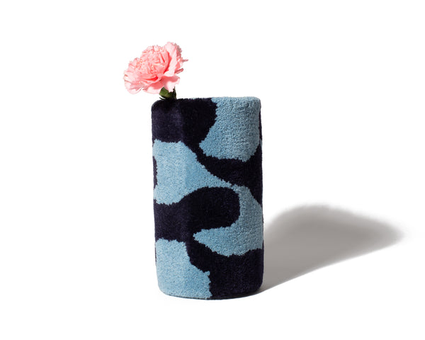 Tufted Vase - Dark Blue/Light Blue - shoparo