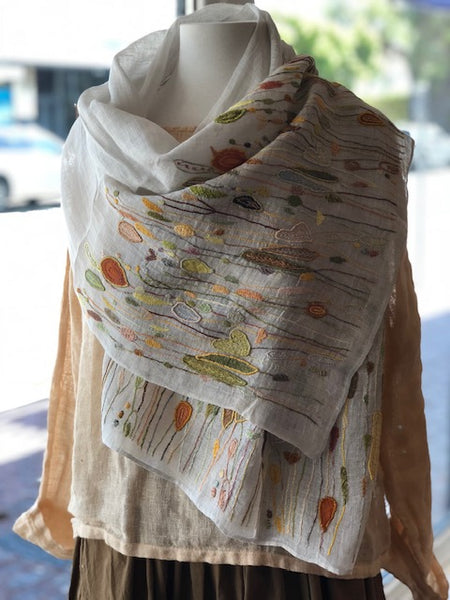 Sophie Digard Pollen Hippies 100% Linen Embroidered Scarf