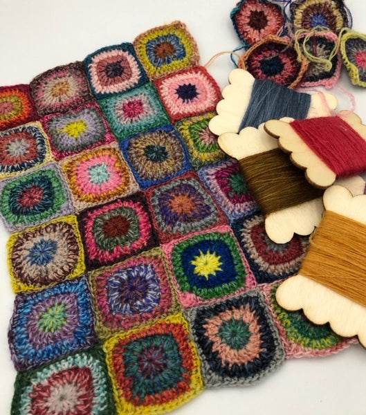 Miniature circles in granny squares class at Calico and Ivy