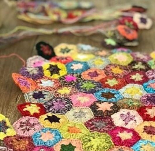 Miniature hexagon crochet scarf workshop at Calico and Ivy