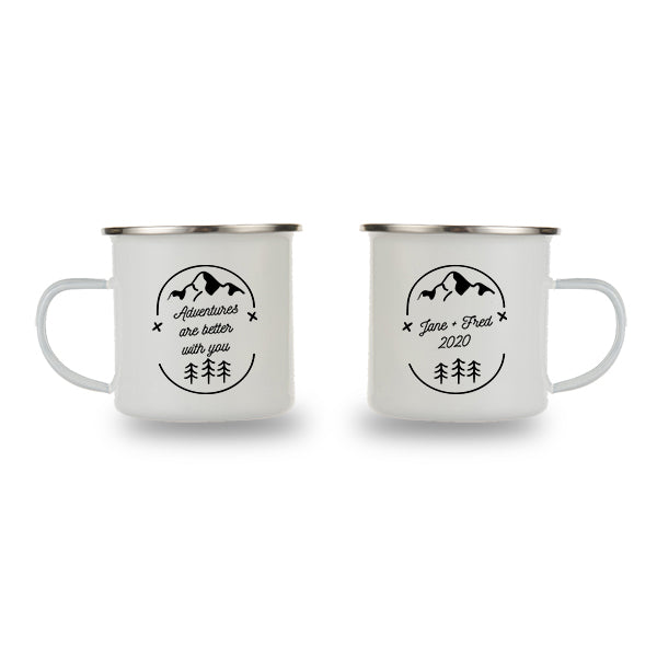 Custom Printed Personalised Camping Mugs | Couple Mug Gift