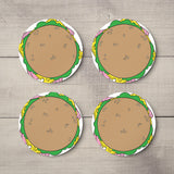Personalised Hardboard and Cork Round Drinks Coaster Set of 4