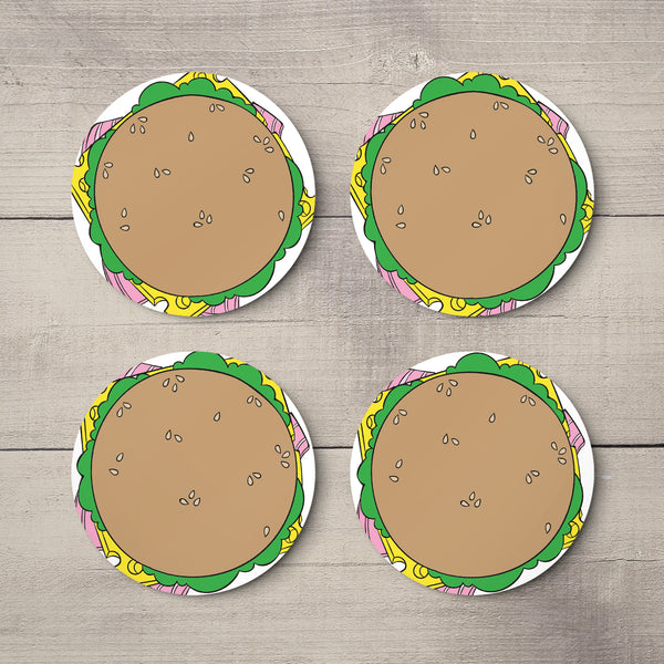 Burgers - Round Drinks Coaster Set of 4