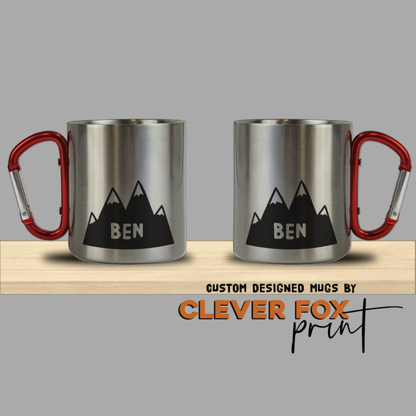 Personalised Stainless Steel Mug with Carabiner Handle | 10 oz Cup | Mountain Kid