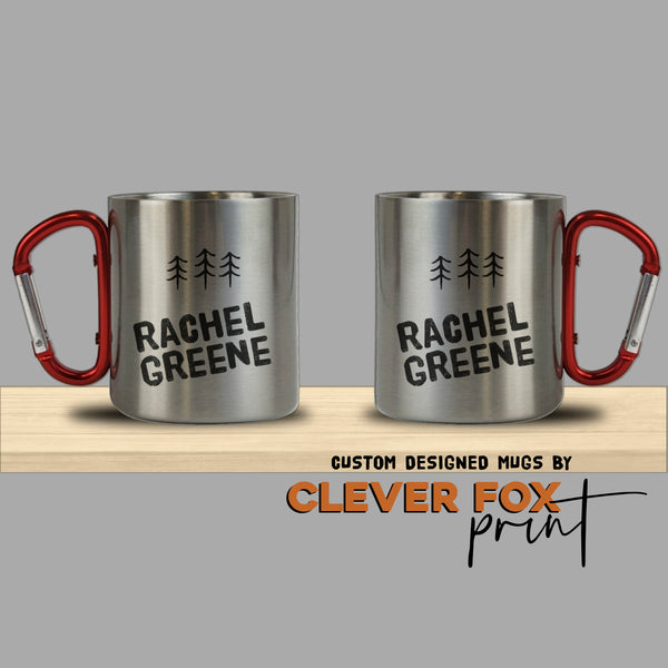 Personalised Stainless Steel Mug with Carabiner Handle | 10 oz Cup | Three Little Pines