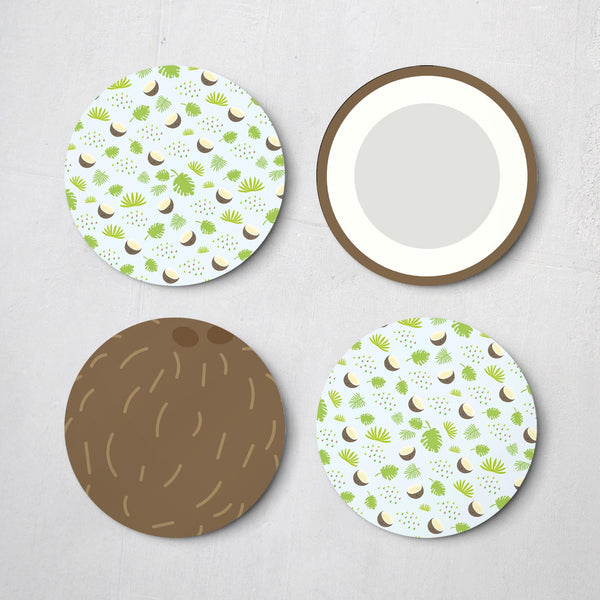 Coconut Round Drinks Coaster Set of 4