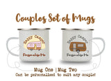 Personalised Enamel Camping Mug | Happy Campers | Couples Set of 2