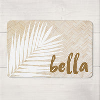 Personalised Neoprene Pet Placemat - Rattan Print - 40 cm x 27 cm