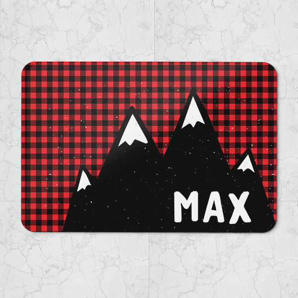 Personalised Neoprene Pet Placemat - Lumberjack Pattern - 40 cm x 27 cm