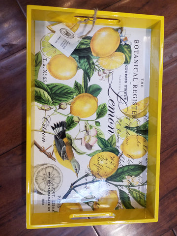 Lemon Basil Decoupage Wood Tray - Small