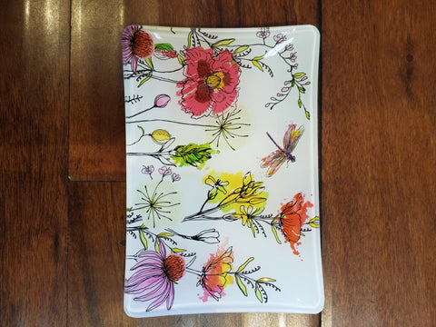 Posies Glass Tray