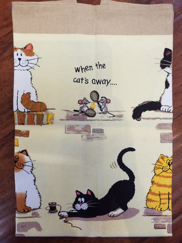 When The Cat's Away Linen Union Tea Towel