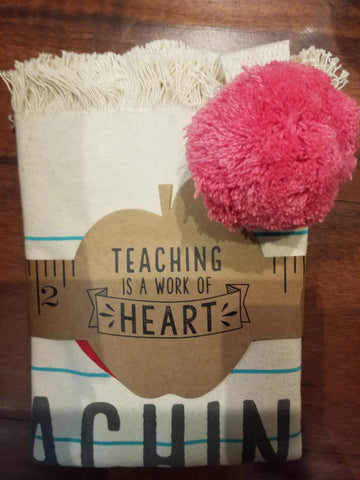 Heart Pom Pom Teacher Tote