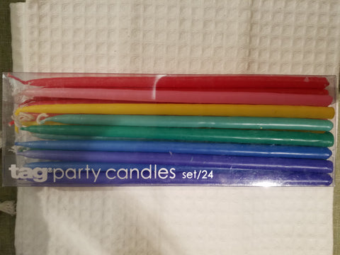Long Rainbow Party Candles