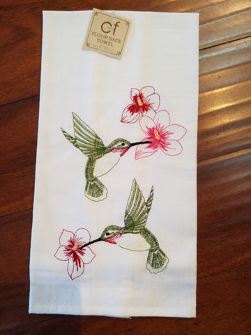 Embroidered Flower Sack Towel