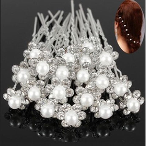 20Pcs Wedding Bridal Pearl Flower Crystal Hair Pins Clips Bridesmaid hairband Head band headband jewelry headwear accessories