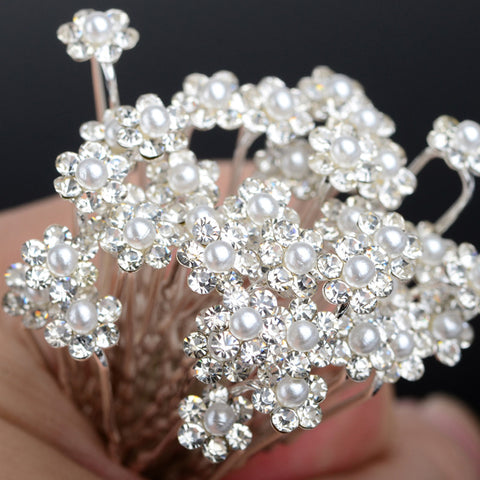 40Pcs Fashion Wedding Bridal Simulated Pearl Flower Crystal Rhinestone Hair Pins Clips Bridesmaid Hairwear Jewelry Accessories