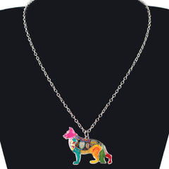 Bonsny Maxi Statement Metal Alloy Enamel Jewelry German Shepherd Dog Choker Necklace Collar Pendant 2016 Fashion New For Women
