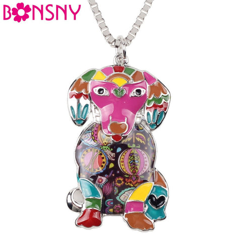 Bonsny Maxi Statement Metal Alloy Enamel Labrador Dog Necklace Chain Collar Choker Pendant 2016 Fashion New Enamel Jewelry Women