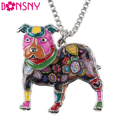 Bonsny Maxi Statement Metal Alloy Pit Bull Buster Dog Choker Necklace Chain Collar Pendant 2016 Fashion Enamel Jewelry Women