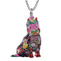 Bonsny Maxi Statement Metal Alloy Schnauzer Dog Choker Necklace Chain Collar Pendant 2016 Fashion New Enamel Jewelry For Women