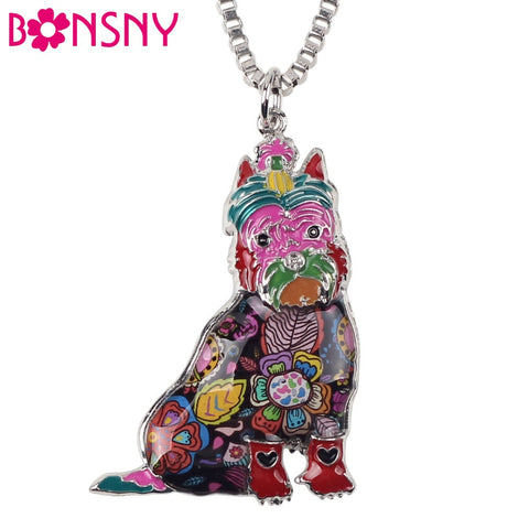Bonsny Schnauzer Dog Choker Necklace - Chain Collar Pendant