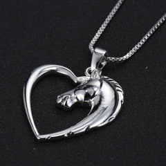Plated White K Horse in Heart Necklace & Pendant