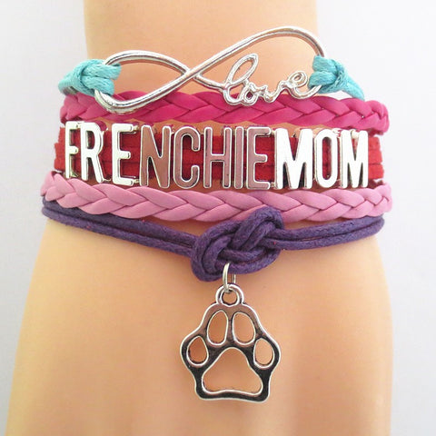 Infinity Love Frenchie Mom Bracelet - Hand Made Leather Strap Wrap
