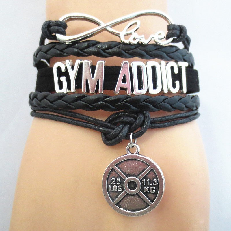 Infinity Love Gym Addict Bracelet Hand Made Leather Strap - 50% Off