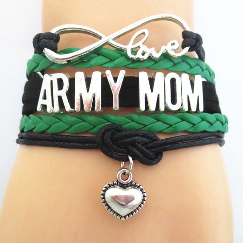 Infinity Love Army  Mom Mom Bracelet -  Hand Made Leather Strap Wrap