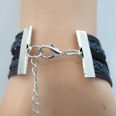 Infinity Love Police Mom Bracelet -  Hand Made Leather Strap Wrap