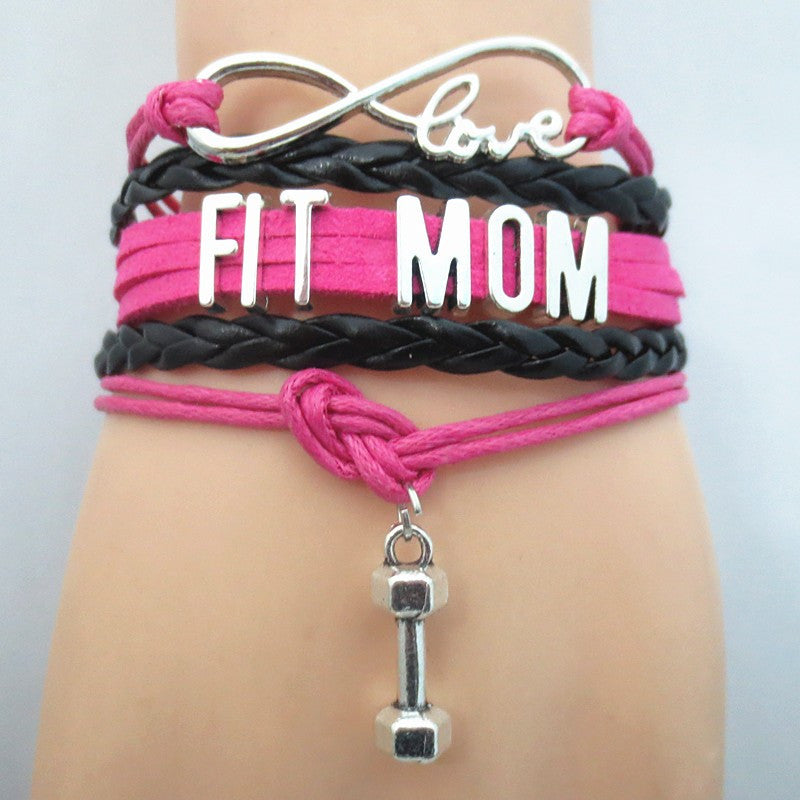 Infinity Love Fit Mom Mom Bracelet - FREE SHIPPING - Hand Made Leather Strap Wrap