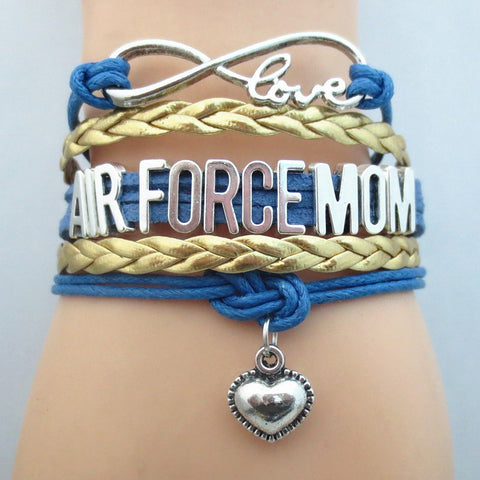 Infinity Love Air Force Mom Mom Bracelet -  Hand Made Leather Strap Wrap