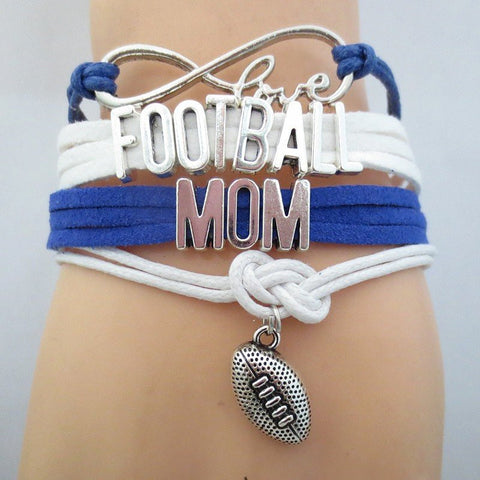 Infinity Love Football Mom Bracelet  - Hand Made Leather Strap Wrap