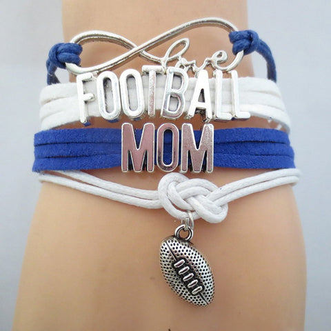 Infinity Love Football Mom (Blue) Bracelet BOGO