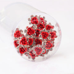 Jewdy 20pieces Lot Clear Crystal Rose Flower Hair Pin Clips Women Romantic Wedding Bridal Hair Jewelry