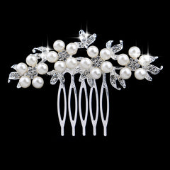 Leaf Flower Butterfly Designs Wedding Tiara Diamante Silver Plated Crystal Pearl Hair Combs Hairpin Bridal Jewelry Accessories