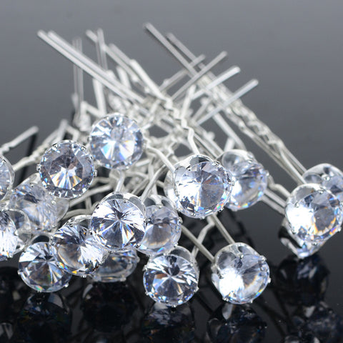Lots 20Pcs Round Crystal Rhinestone Hair Pins Clips Tiara Hairband Wedding Bridal Bridesmaid Accessories Jewelry Wholesale