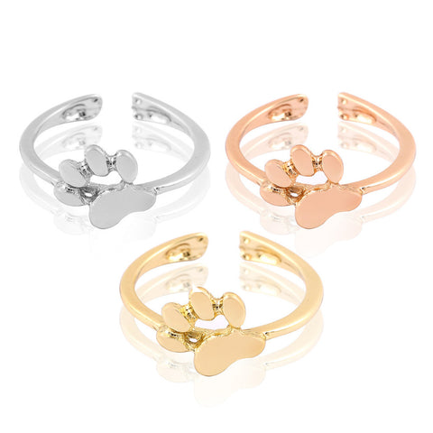 New Fashion Animal Jewelry Cat Paw Print rings for women Open Dog paw ring female Party Gifts R176