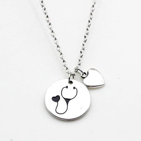 Nurse Heart Stethoscope Pendant Necklace  Graduation Gift For Doctor or Medical Student