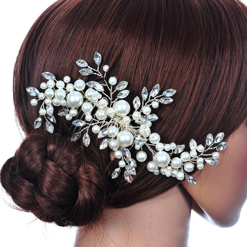 Wedding Hair Accessories Clips Romantic Crystal Pearl Flower HairPin Rhinestone Tiara Bridal Crown Hair Pins Bride Hair Jewelry