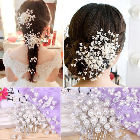 Wedding Hair Accessories Elegant Crystal Pearl Hair Clips Bridal Tiara Korea Hairpin Romantic Wedding Hair Jewelry Hair Pin SL