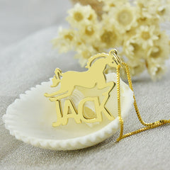 Personalized Gold Horse Necklace with Cut Out Name Jewelry  - Horse Lover Gift