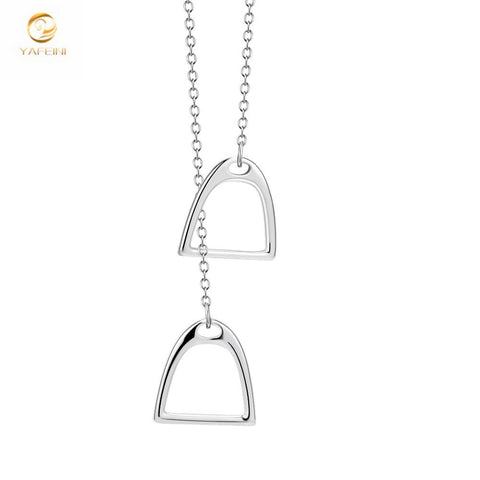 Double Horse Hoof Horseshoe Necklace - .925 Sterling Silver - Unisex Jewelry For Men/ Women
