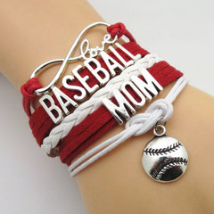 Infinity Love Baseball Mom Bracelet - Hand Made Leather Strap Wrap