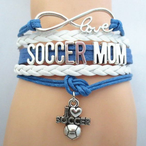 Infinity Love Soccer Mom Bracelet - Hand Made Leather Strap Wrap