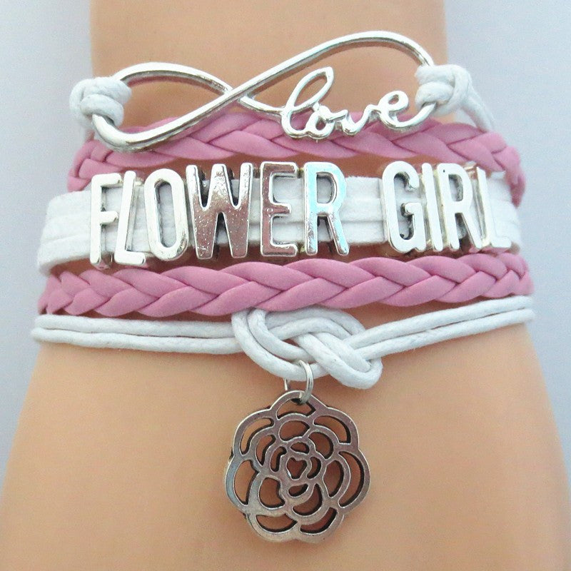 FREE Infinity Love (PINK) Flower Girl Bracelet - Hand Made Leather Strap Wrap